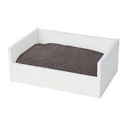 LURVIG pet bed with cushion, white, grey