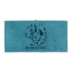 URSKOG, Bath towel, lion, blue