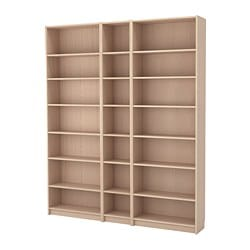 BILLY bookcase w height extension units, white stained oak veneer