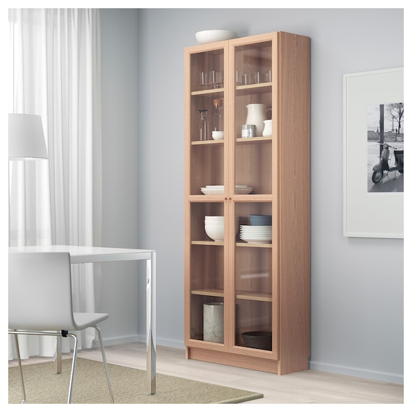 newest eddae a4544 Bookcase with glass door BILLY / OXBERG white stained oak veneer, glass