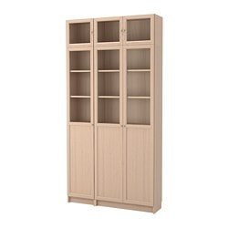BILLY / OXBERG bookcase combination/glass doors, white stained oak veneer, glass