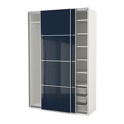 PAX wardrobe, white Hokksund, high gloss black-blue dark blue