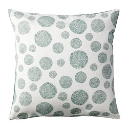 TRÅDPALM cushion cover, white/green
