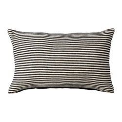 SNÖFRID cushion cover, black/off-white