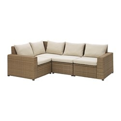 SOLLERÖN 4-seat sectional, outdoor, brown, Hållö beige