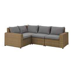 SOLLERÖN corner sofa 3+1, outdoor, brown, Hållö grey