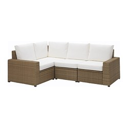 SOLLERÖN corner sofa 3+1, outdoor, brown, Kungsö white