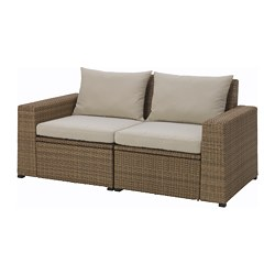 SOLLERÖN loveseat, outdoor, brown, Hållö beige