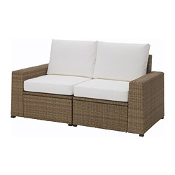 SOLLERÖN 2-seat sofa, outdoor, brown, Kungsö white