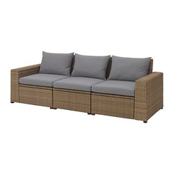 SOLLERÖN sofa, outdoor, brown, Hållö gray