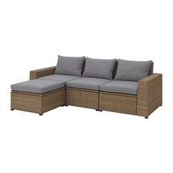 SOLLERÖN 3-seat sofa with footstool, outdoor, brown, Hållö grey