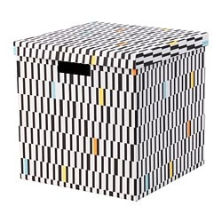 TJENA storage box with lid, black/white