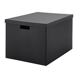 TJENA storage box with lid, black