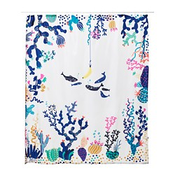 LASJÖN, Shower curtain, multicolor