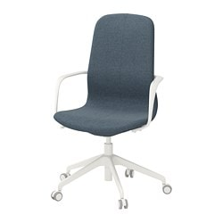 LÅNGFJÄLL office chair with armrests, Gunnared blue, white