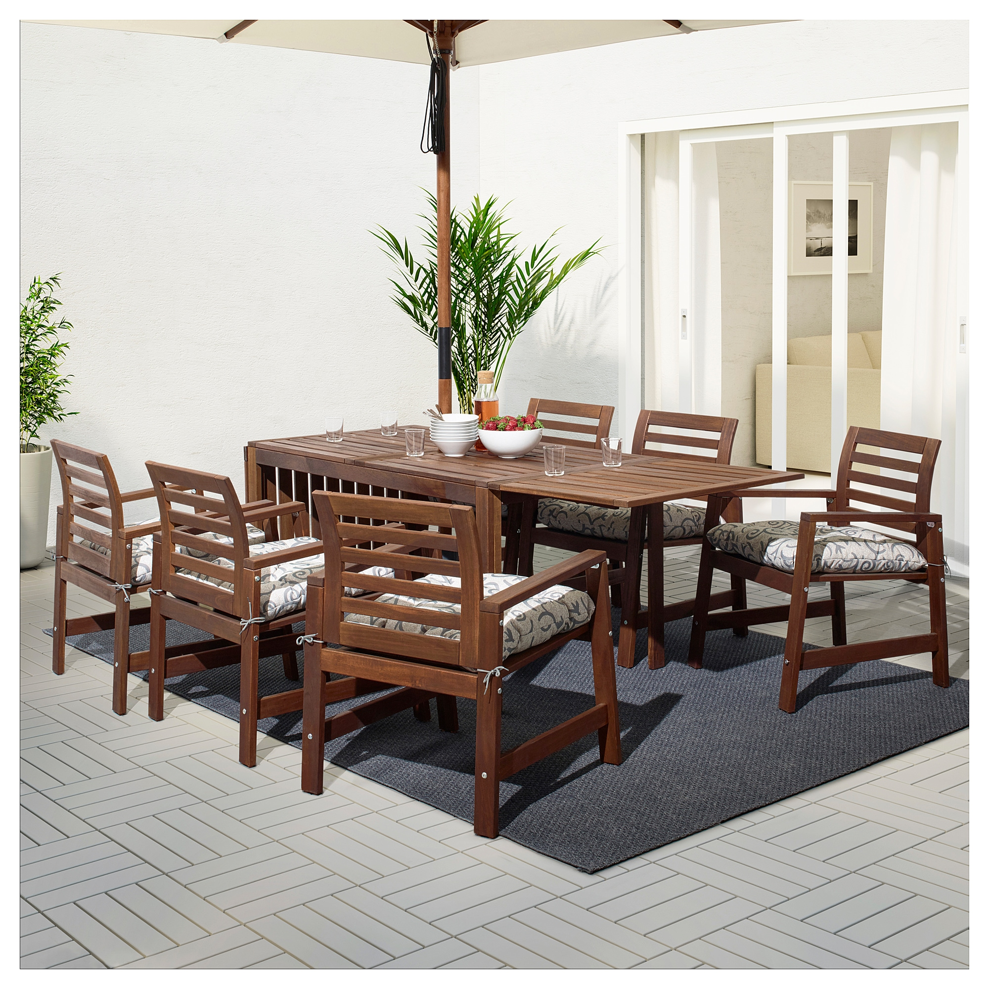 Applaro Table 6 Chairs W Armrests Outdoor Applaro Brown Stained