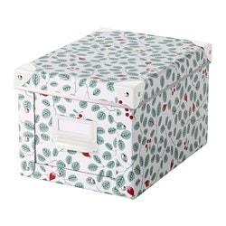 FJÄLLA storage box with lid, white, green