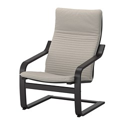 POÄNG armchair, black-brown, Knisa light beige