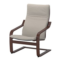 POÄNG armchair, brown, Knisa light beige