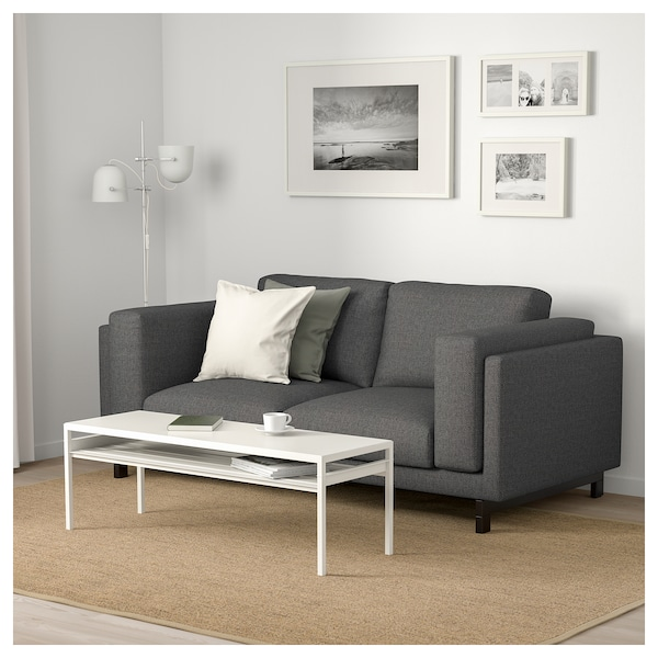 nockeby 2er sofa lejde dunkelgrau holz ikea. Black Bedroom Furniture Sets. Home Design Ideas