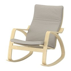 POÄNG rocking chair, birch veneer, Knisa light beige