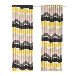 ODDVEIG curtains, 1 pair, white, multicolour