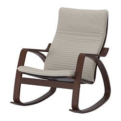 POÄNG rocking-chair, brown, Knisa light beige