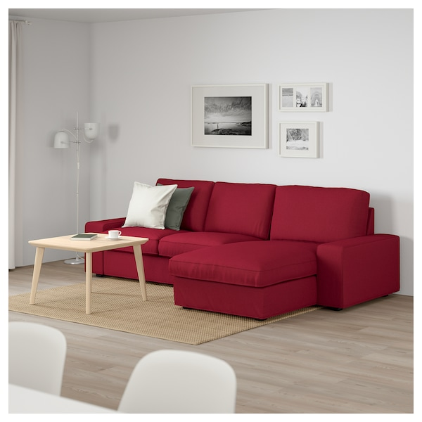 kivik canap 3 places avec m ridienne orrsta rouge ikea. Black Bedroom Furniture Sets. Home Design Ideas