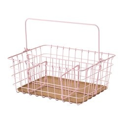 PLEJA wire basket with handle, pink
