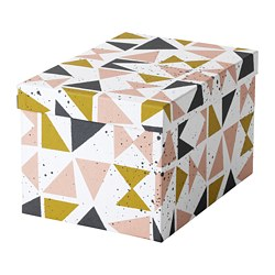 TJENA storage box with lid, white black, pink