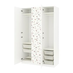PAX wardrobe, white, Marnardal floral patterned