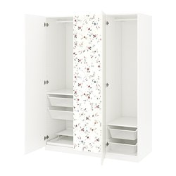 "PAX wardrobe, white, Marnardal floral patterned Width: 59 "" Depth: 23 5/8 "" Height: 79 1/4 "" Width: 150 cm Depth: 60 cm Height: 201.2 cm"