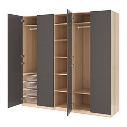 PAX wardrobe, white stained oak effect, Meråker dark grey