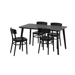 LISABO / IDOLF table and 4 chairs, black, black Length: 140 cm Width: 78 cm Height: 74 cm