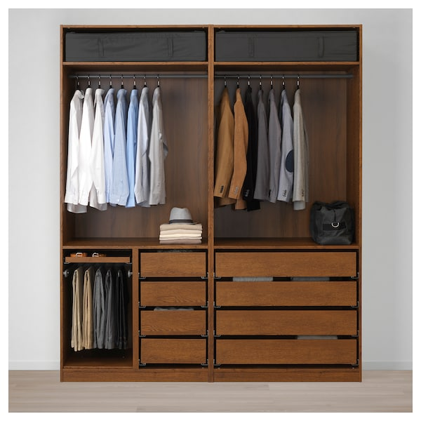 competitive price 41518 56fca PAX Wardrobe, brown stained ash effect, Uggdal gray glass