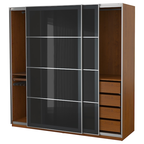 finest selection da1fc 4f5d3 Wardrobe PAX brown stained ash effect, Uggdal gray glass