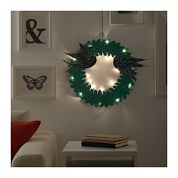 STRÅLA LED wreath, battery-operated, swallows green