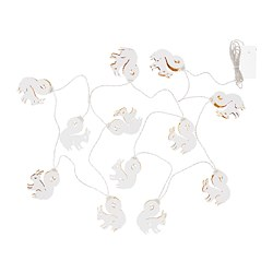 STRÅLA LED lighting chain with 12 lights, bat battery-operated, squirrel white