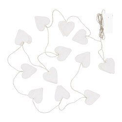 STRÅLA LED string light with 12 lights, battery operated, heart white
