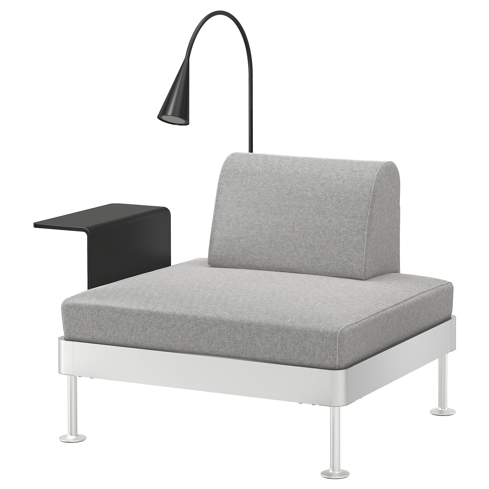 reputable site 3c06a 01d2d Armchair with side table and lamp DELAKTIG Tallmyra white/black