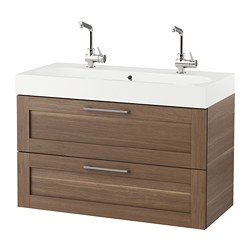 GODMORGON /  BRÅVIKEN wash-stand with 2 drawers, walnut effect Width: 102 cm Wash-stand width: 100 cm Depth: 49 cm