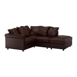 GRÖNLID corner sofa, 3-seat, with open end, Kimstad dark brown