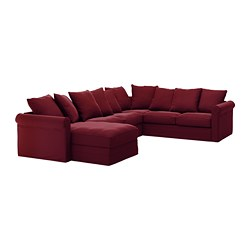 GRÖNLID Sectional, 5 Seat Corner, With Chaise, Ljungen Dark Red