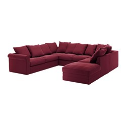 GRÖNLID sectional, 6 seat, with open end, Ljungen dark red
