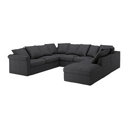 GRÖNLID sectional, 6 seat, with open end, Sporda dark gray