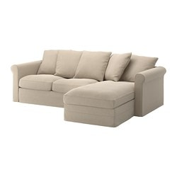 Genial GRÖNLID Sofa, With Chaise, Sporda Natural