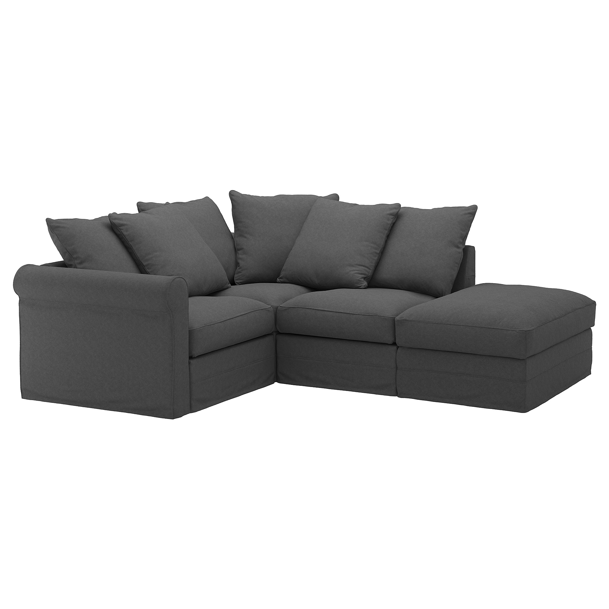 Corner sofa, 3-seat GRÖNLID with open end, Tallmyra medium grey
