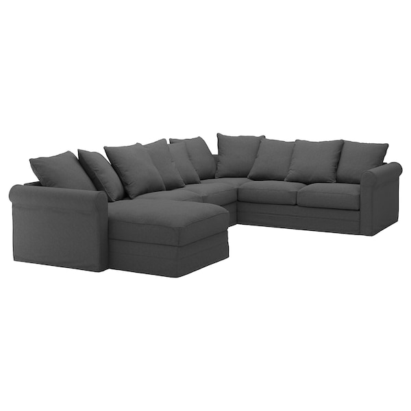 Corner sofa, 5-seat GRÖNLID with chaise longue, Tallmyra medium grey