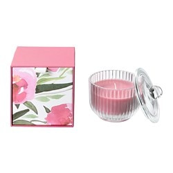 BLOMDOFT scented candle in glass, Peony, pink