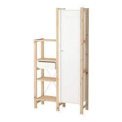 IVAR 2 section shelving unit w/cabinet, pine, white